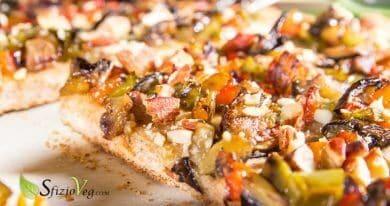 Pizza integrale con verdure e mandorle